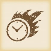 Grungy burning clock icon — Stock Vector