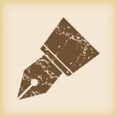 Grungy ink pen nib icon — Stock Vector