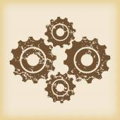 Grungy cogs icon — Stock Vector