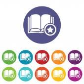 Favorite book icon set — Stockvector