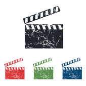 Clapperboard grunge icon set — Vector de stock