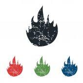 Fire grunge icon set — ストックベクタ
