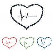 Cardiology grunge icon set — Stock Vector