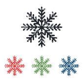 Snowflake grunge icon set — Stock Vector