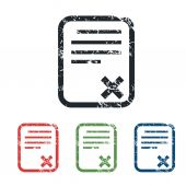 Declined document grunge icon set — Stock Vector
