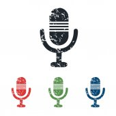 Conjunto de iconos grunge micrófono — Vector de stock