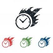 Burning clock grunge icon set — Stock Vector