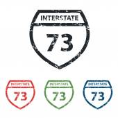 Interstate 73 grunge icon set — Stock Vector