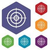 Cílem je sada ikon šestiúhelník — Stock vektor