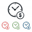 Time money grunge icon set — Stock Vector #74598859