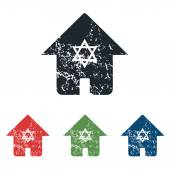 Jewish house grunge icon set — Cтоковый вектор
