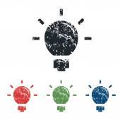 Lightbulb grunge icon set — Vettoriale Stock