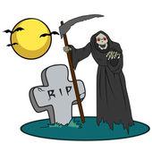 Halloween varelse på kyrkogård — Stockvektor