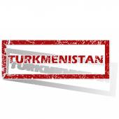 Turkmenistan outlined stamp — Stock Vector