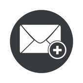 Monochrome round add letter icon — Stock Vector