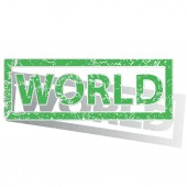 Green outlined WORLD stamp — Stock Vector