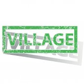 Green outlined VILLAGE stamp — Stock Vector
