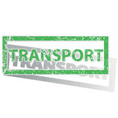 Green outlined TRANSPORT stamp — Stock Vector