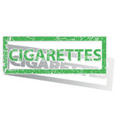Green outlined CIGARETTES stamp — Stock Vector