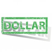 Green outlined DOLLAR stamp — Stock Vector