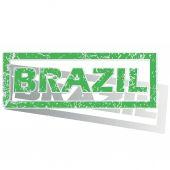 Green outlined Brazil stamp — Stock Vector