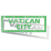 Green outlined Vatican City stamp — Stock Vector