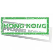 Green outlined Hong Kong stamp — Stock Vector