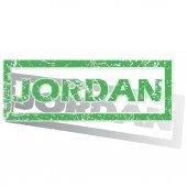 Green outlined Jordan stamp — Stok Vektör