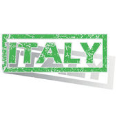 Green outlined Italy stamp — Stock Vector