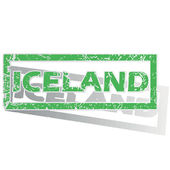 Green outlined Iceland stamp — Stock Vector