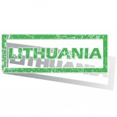 Green outlined Lithuania stamp — Stockvector