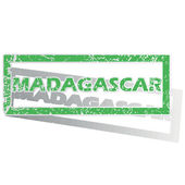Green outlined Madagascar stamp — Stock Vector