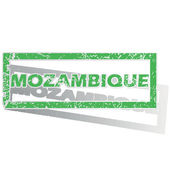 Green outlined Mozambique stamp — Stock Vector