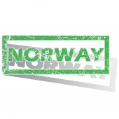 Green outlined Norway stamp — Stock Vector