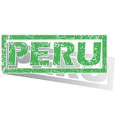 Green outlined Peru stamp — Stock Vector
