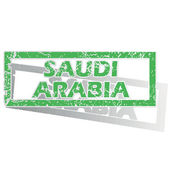 Green outlined Saudi Arabia stamp — Vettoriale Stock