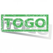 Green outlined Togo stamp — Stock Vector