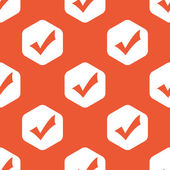 Orange hexagon tick mark pattern — Cтоковый вектор