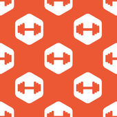 Orange hexagon barbell pattern — Stock Vector