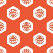 Orange hexagon global network pattern — Stock Vector