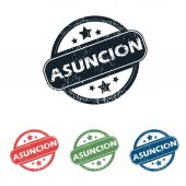 Round Asuncion city stamp set — Stock Vector