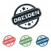 Round Dresden city stamp set — Stock Vector
