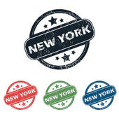 Round New York stamp set — 图库矢量图片