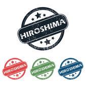 Round Hiroshima city stamp set — Stock Vector