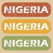 Vintage Nigeria stamp set — Stock Vector