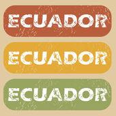 Vintage Ecuador stamp set — Stock Vector