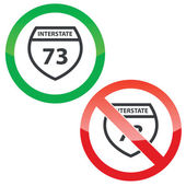 Interstate 73 permission signs set — Stock Vector