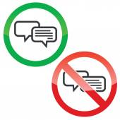 Chatting permission signs set — Stock Vector