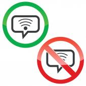 Wi-Fi message permission signs — Stock Vector
