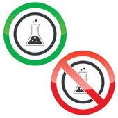 Conical flask permission signs — Stock Vector